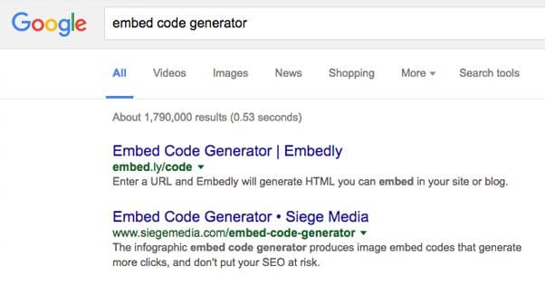 Embed Code Generator Google Search