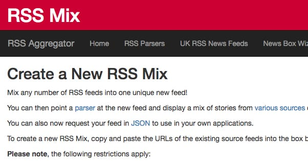 RSS Mix Website