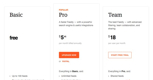Three Pricing Plans Feedly
