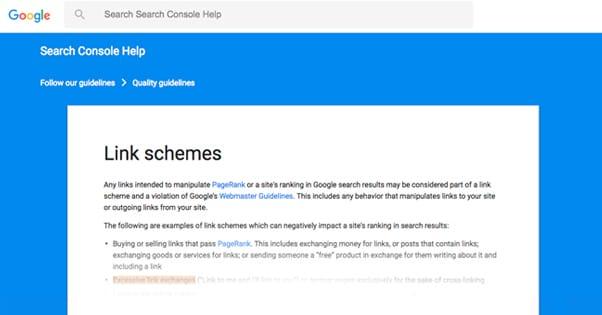 Link Schemes on Google