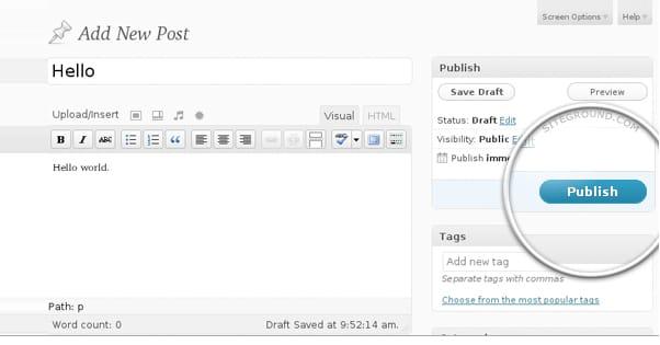 Publish in WordPress