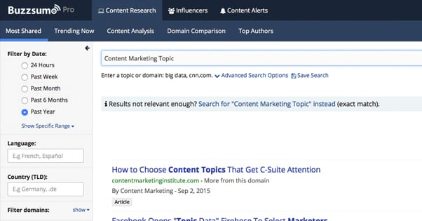BuzzSumo Topic Ideas
