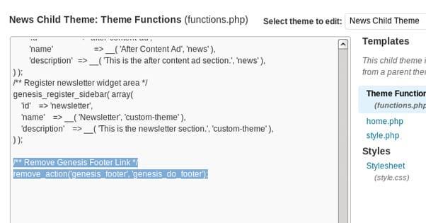 How Do I Remove My Wordpress Theme Footer Links