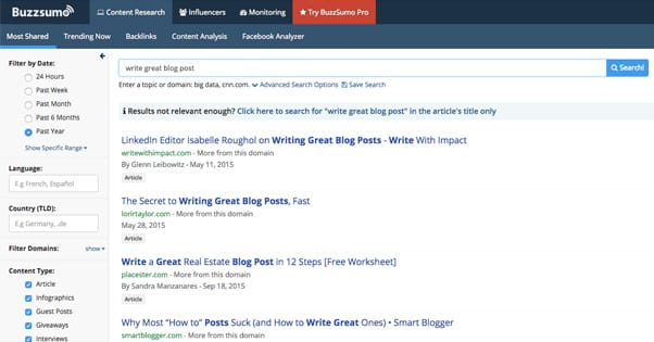 Buzzsumo Topic Research