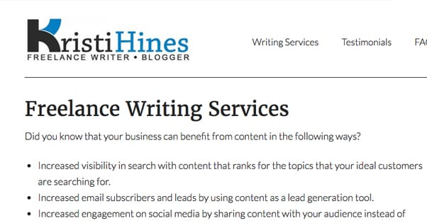 Freelance Services Example