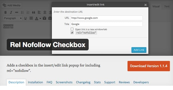 Nofollow Checkbox WordPress