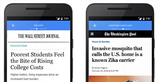 Two Examples of Websites on Instant Articles