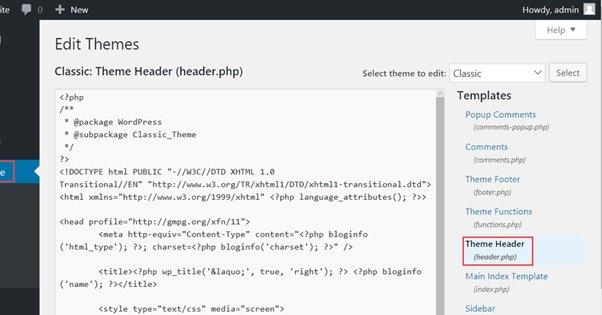 Edit Header PHP File