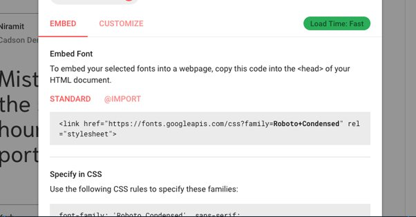 Embed Font Code