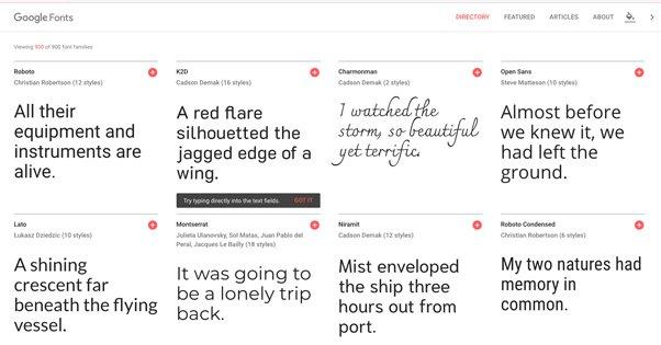 Google Font Examples