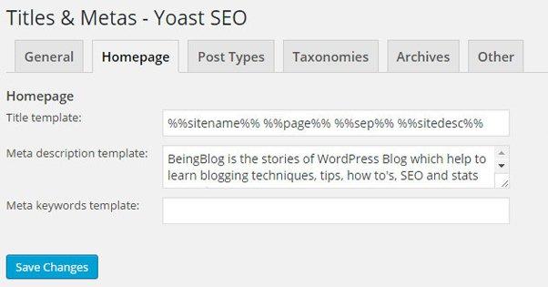 Yoast Meta Description Settings