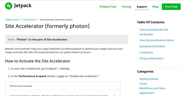 Jetpack Site Accelerator Photon