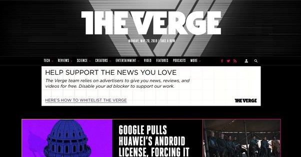 The Verge Homepage