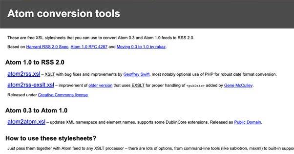 ATOM Conversion Tools