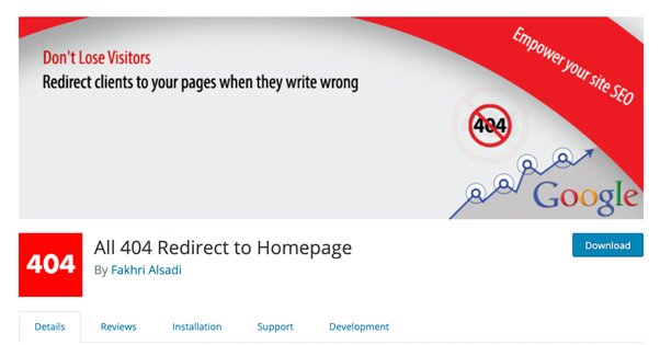 404 Redirect to Homepage