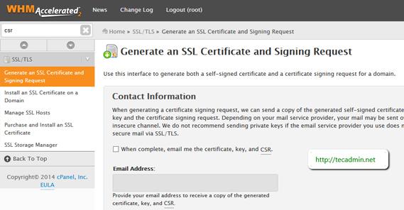 Installing an SSL Certificate in WHM